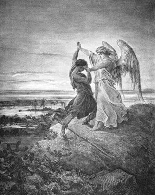 Jacob luttant contre l'ange. Gustave Doré, 1855.
